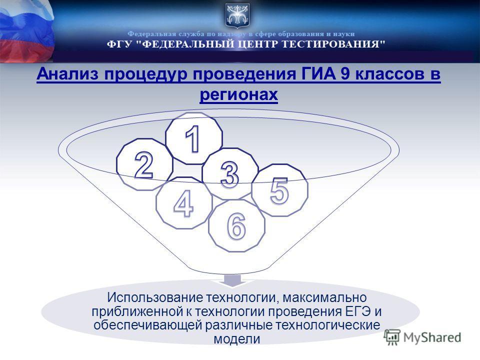 Анализ процедур проведения ГИА 9 классов в регионах Использование технологии, максимально приближенной к технологии проведения ЕГЭ и обеспечивающей различные технологические модели