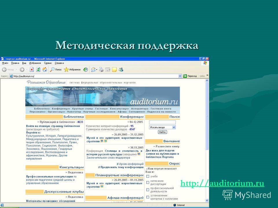 Методическая поддержка http://auditorium.ru