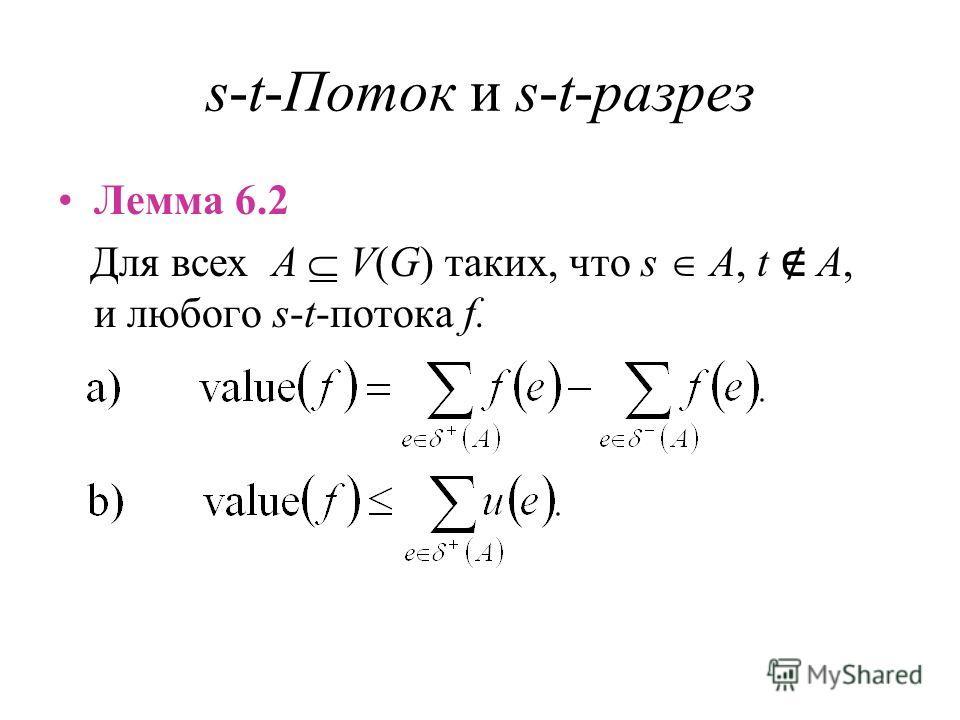 s-t-Поток и s-t-разрез Лемма 6.2 Для всех A V(G) таких, что s A, t A, и любого s-t-потока f.