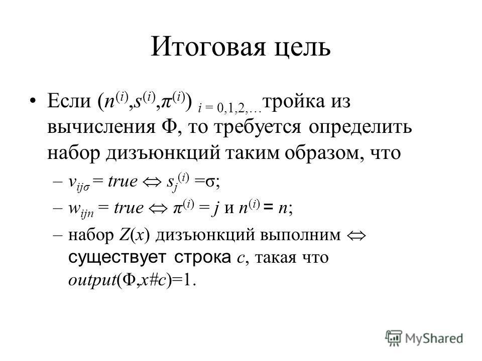 Итоговая цель Если (n (i),s (i),π (i) ) i = 0,1,2,… тройка из вычисления Φ, то требуется определить набор дизъюнкций таким образом, что –v ijσ = true s j (i) =σ; –w ijn = true π (i) = j и n (i) = n; –набор Z(x) дизъюнкций выполним существует строка c