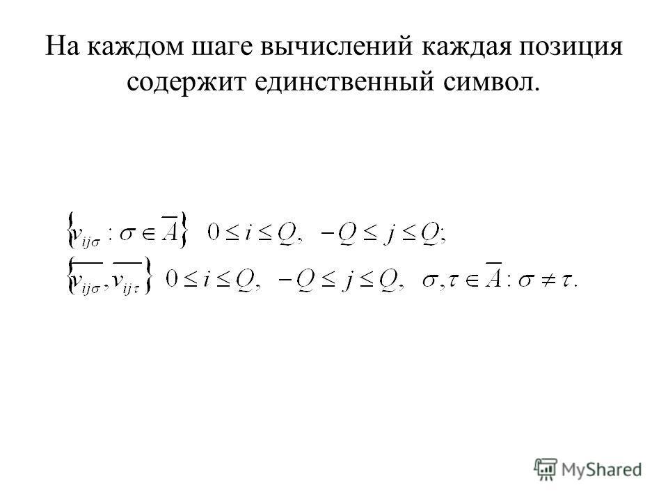 На каждом шаге вычислений каждая позиция содержит единственный символ.