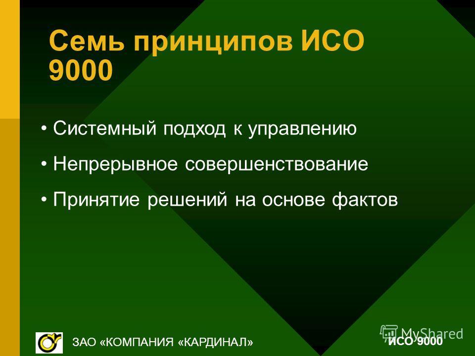 Семь принципов ИСО 9000 Системный подход к управлению Непрерывное совершенствование Принятие решений на основе фактов ЗАО «КОМПАНИЯ «КАРДИНАЛ» ИСО 9000
