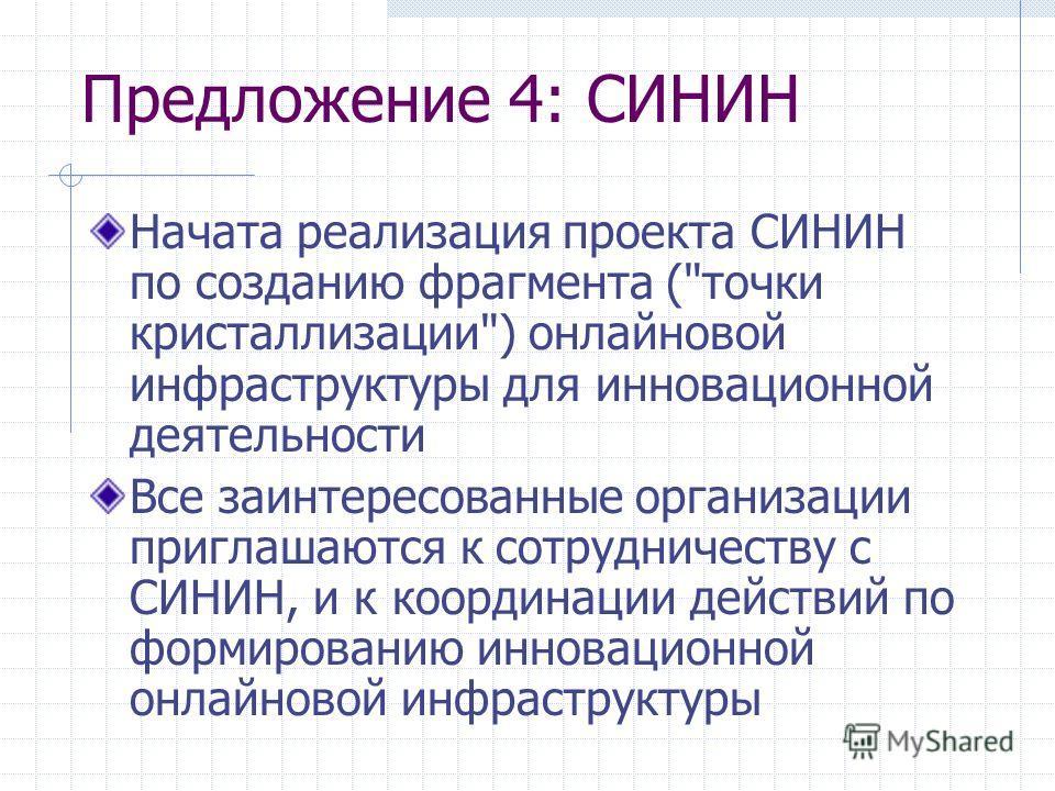 Предложение 4: СИНИН Начата реализация проекта СИНИН по созданию фрагмента (