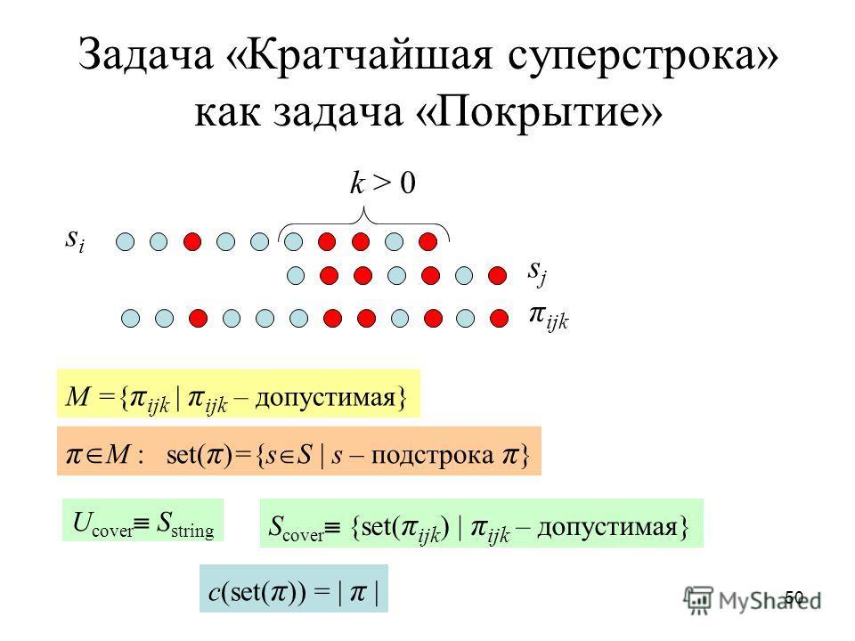 50 Задача «Кратчайшая суперстрока» как задача «Покрытие» sisi sjsj k > 0 π ijk M ={ π ijk | π ijk – допустимая} π M : set( π )={s S | s – подстрока π } U cover S string S cover {set( π ijk ) | π ijk – допустимая} c(set( π )) = | π |