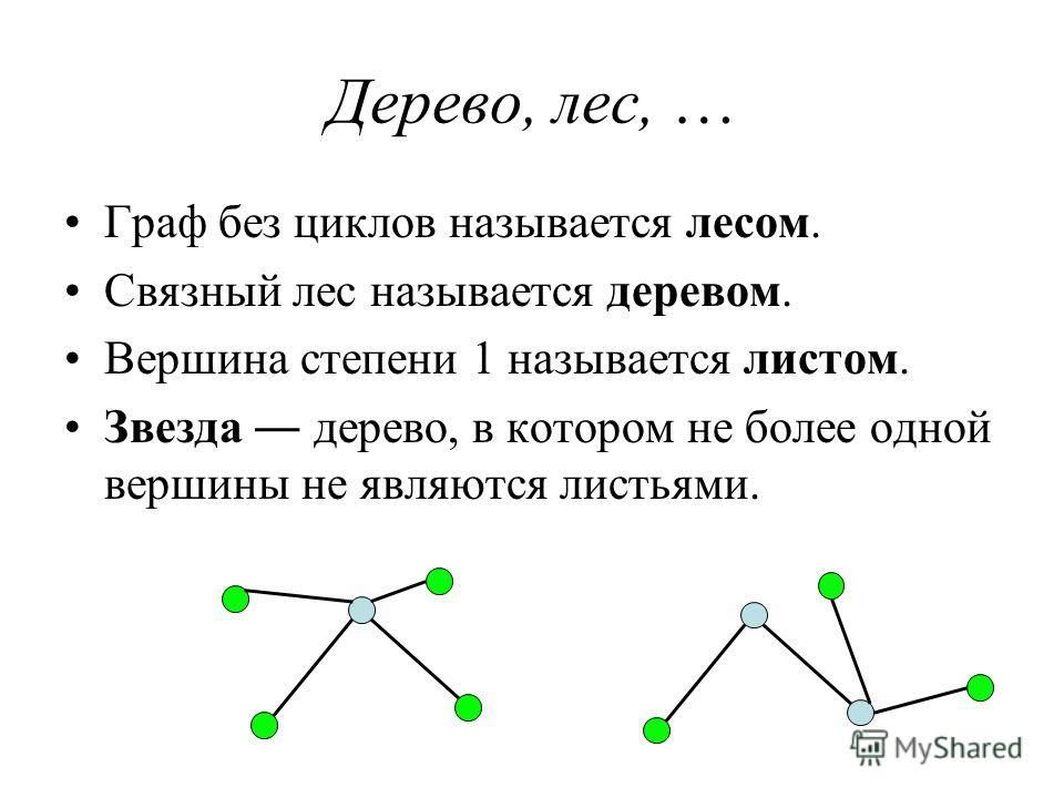 Дерево, лес, … Граф без циклов называется лесом. Связный лес называется деревом. Вершина степени 1 называется листом. Звезда дерево, в котором не более одной вершины не являются листьями.