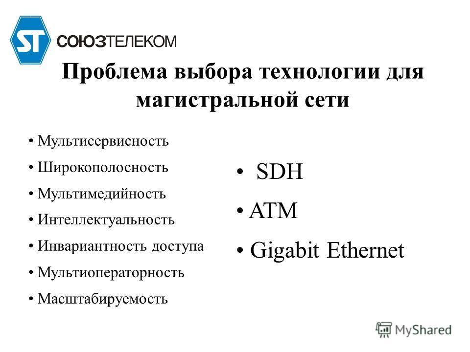 Проблема выбора технологии для магистральной сети Мультисервисность Широкополосность Мультимедийность Интеллектуальность Инвариантность доступа Мультиоператорность Масштабируемость SDH ATM Gigabit Ethernet