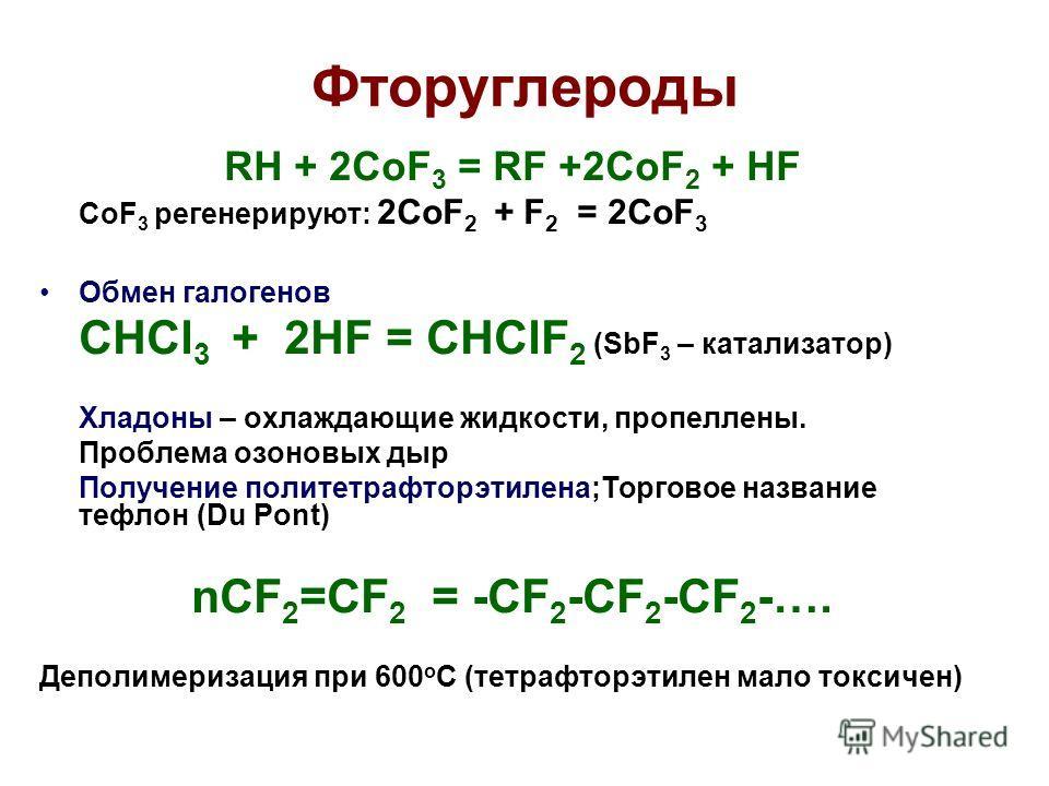 Фторуглероды RH + 2CoF 3 = RF +2CoF 2 + HF CoF 3 регенерируют: 2CoF 2 + F 2 = 2CoF 3 Обмен галогенов CHCl 3 + 2HF = CHClF 2 (SbF 3 – катализатор) Хладоны – охлаждающие жидкости, пропеллены. Проблема озоновых дыр Получение политетрафторэтилена;Торгово
