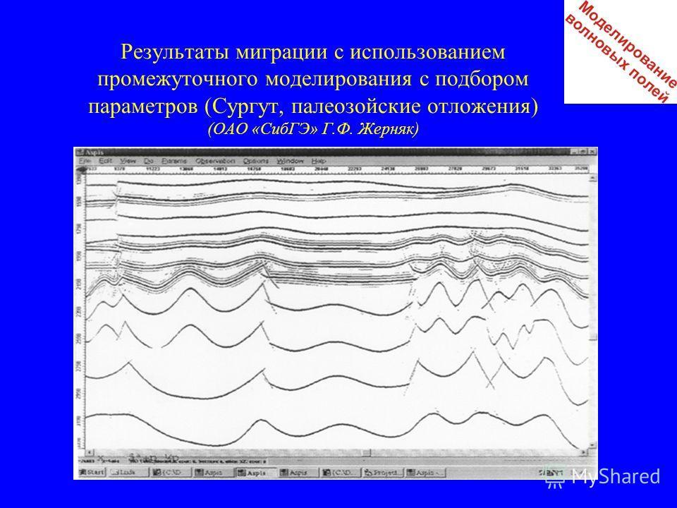 Результаты миграции с использованием промежуточного моделирования с подбором параметров (Сургут, палеозойские отложения) (ОАО «СибГЭ» Г.Ф. Жерняк)