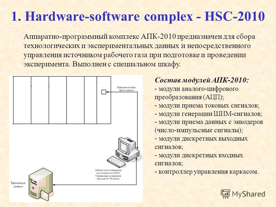 1. Hardware-software complex - HSC-2010 Аппаратно-программный комплекс АПК-2010 предназначен для сбора технологических и экспериментальных данных и непосредственного управления источником рабочего газа при подготовке и проведении эксперимента. Выполн