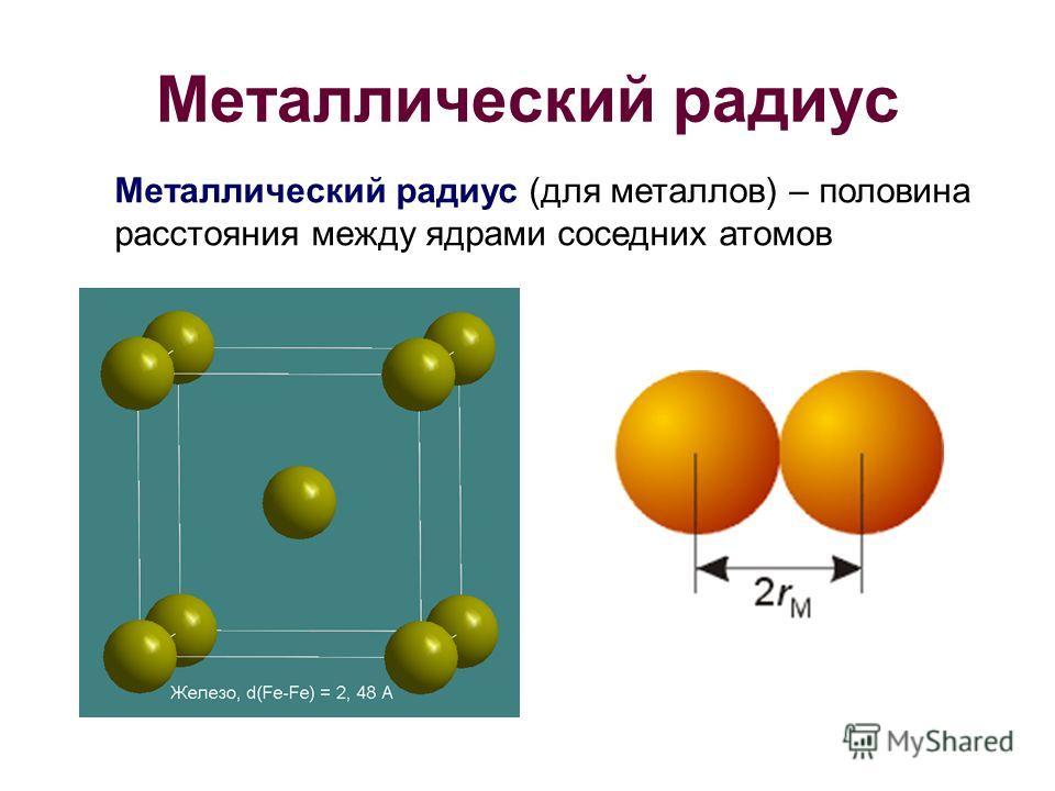 Металлический радиус Металлический радиус (для металлов) – половина расстояния между ядрами соседних атомов