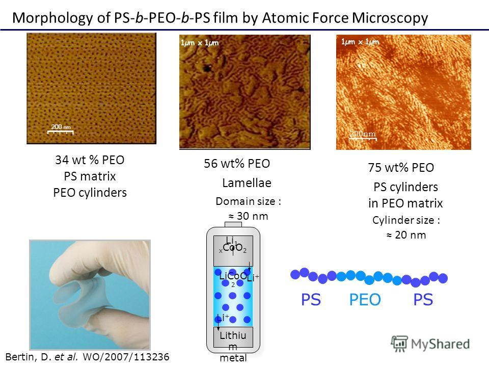 1µm x 1µm 75 wt% PEO PS cylinders in PEO matrix 56 wt% PEO Lamellae 34 wt % PEO PS matrix PEO cylinders Morphology of PS-b-PEO-b-PS film by Atomic Force Microscopy Cylinder size : 20 nm Domain size : 30 nm Bertin, D. et al. WO/2007/113236 Li + Lithiu