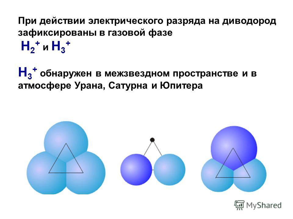 При действии электрического разряда на диводород зафиксированы в газовой фазе H 2 + и H 3 + H 3 + обнаружен в межзвездном пространстве и в атмосфере Урана, Сатурна и Юпитера
