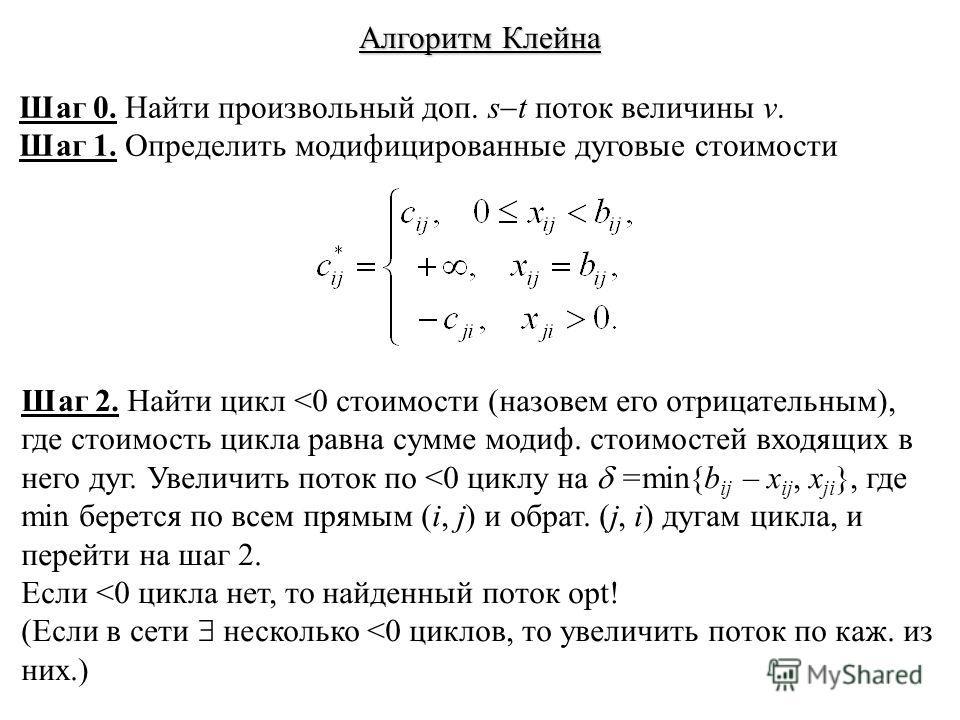 Алгоритм Клейна Шаг 0. Найти произвольный доп. s t поток величины v. Шаг 1. Определить модифицированные дуговые стоимости Шаг 2. Найти цикл