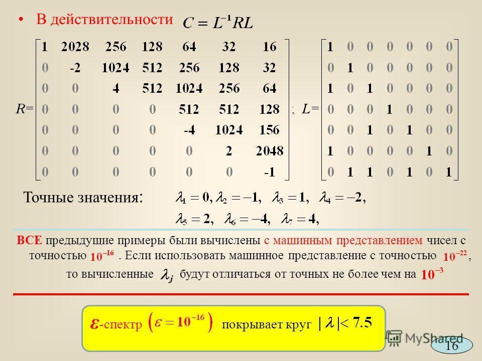 В действительности Точные значения : ВСЕ предыдущие примеры были вычислены с машинным представлением чисел с точностью. Если использовать машинное представление с точностью, то вычисленные будут отличаться от точных не более чем на 16 ε -спектр покры