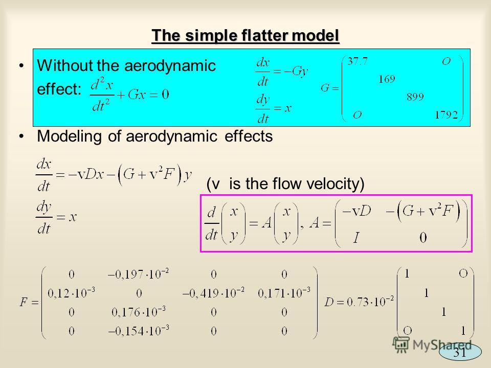 The simple flatter model Without the aerodynamic effect: Modeling of aerodynamic effects (v is the flow velocity) 31