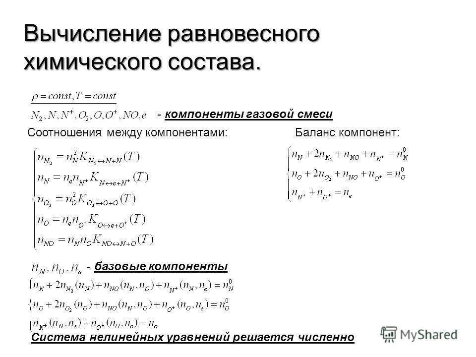 Вычисление равновесного химического состава. - компоненты газовой смеси Соотношения между компонентами: - базовые компоненты Баланс компонент: Система нелинейных уравнений решается численно