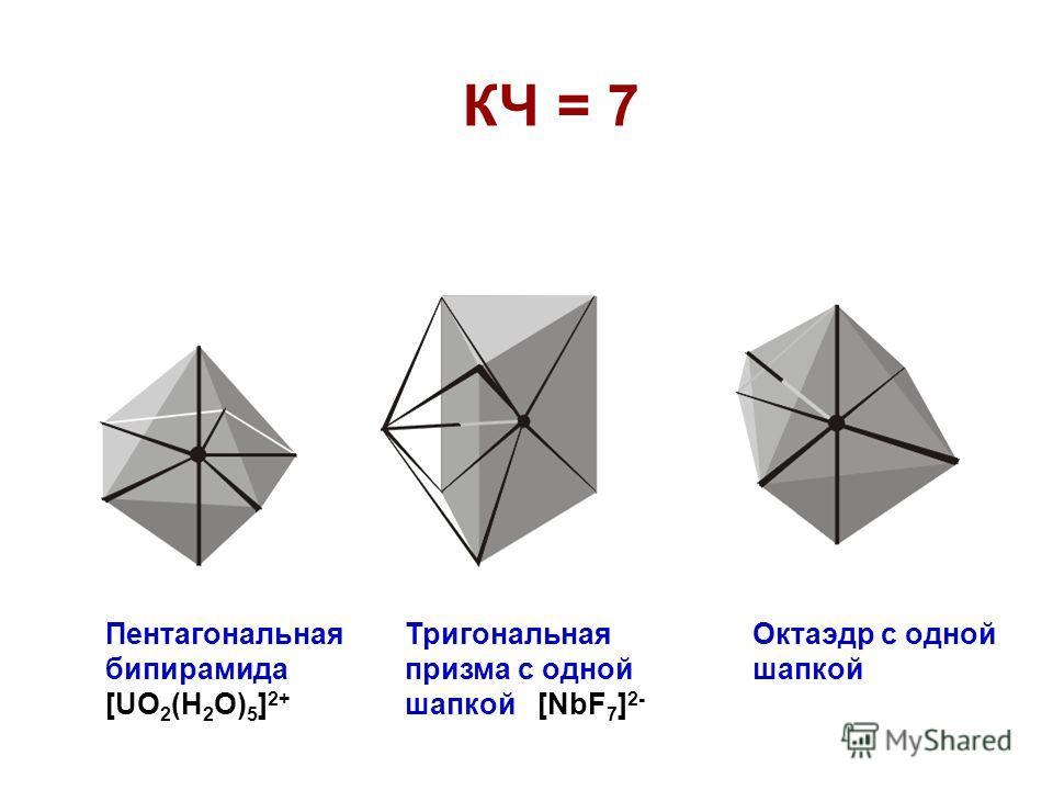КЧ = 7 Пентагональная бипирамида [UO 2 (H 2 O) 5 ] 2+ Тригональная призма с одной шапкой [NbF 7 ] 2- Октаэдр с одной шапкой