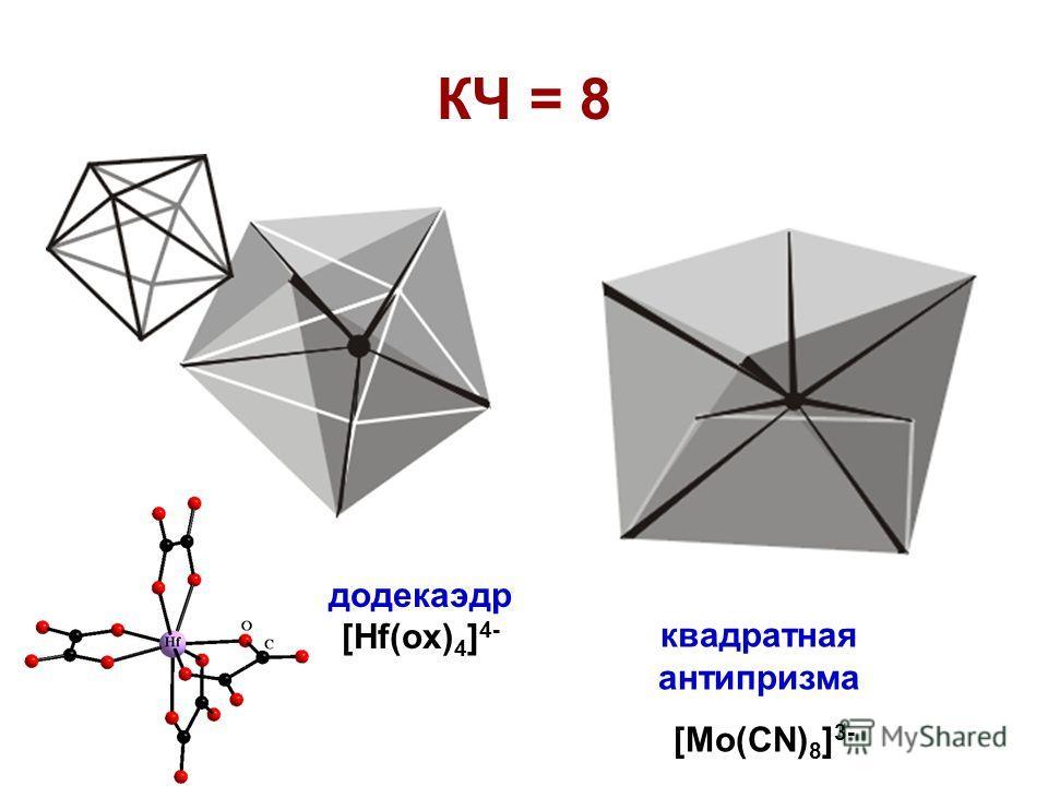 КЧ = 8 додекаэдр [Hf(ox) 4 ] 4- квадратная антипризма [Mo(CN) 8 ] 3-