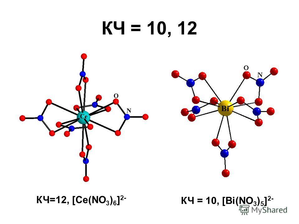 КЧ = 10, 12 КЧ=12, [Ce(NO 3 ) 6 ] 2- КЧ = 10, [Bi(NO 3 ) 5 ] 2-
