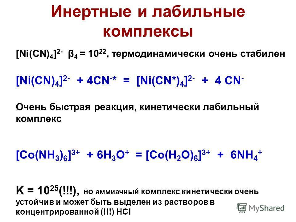 Инертные и лабильные комплексы [Ni(CN) 4 ] 2- β 4 = 10 22, термодинамически очень стабилен [Ni(CN) 4 ] 2- + 4CN - * = [Ni(CN*) 4 ] 2- + 4 CN - Очень быстрая реакция, кинетически лабильный комплекс [Co(NH 3 ) 6 ] 3+ + 6H 3 O + = [Co(H 2 O) 6 ] 3+ + 6N