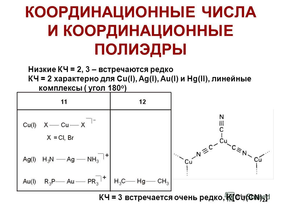 КООРДИНАЦИОННЫЕ ЧИСЛА И КООРДИНАЦИОННЫЕ ПОЛИЭДРЫ Низкие КЧ = 2, 3 – встречаются редко КЧ = 2 характерно для Cu(I), Ag(I), Au(I) и Hg(II), линейные комплексы ( угол 180 о ) КЧ = 3 встречается очень редко, K[Cu(CN) 2 ]