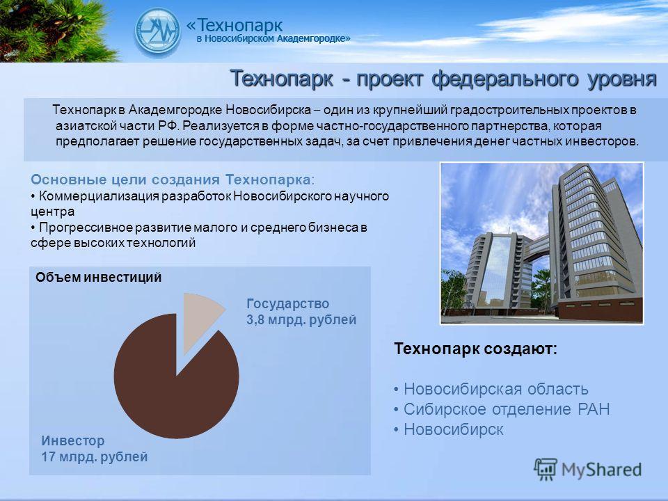 Технопарк в Академгородке Новосибирска – один из крупнейший градостроительных проектов в азиатской части РФ. Реализуется в форме частно-государственного партнерства, которая предполагает решение государственных задач, за счет привлечения денег частны