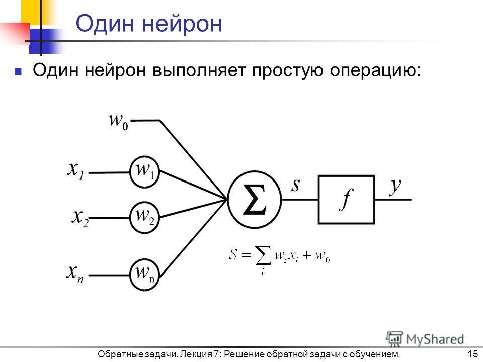 Обратные задачи. Лекция 7: Решение обратной задачи с обучением.15 Один нейрон Один нейрон выполняет простую операцию: