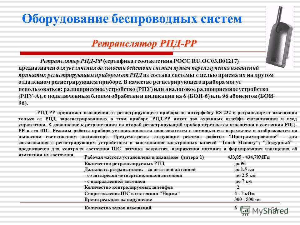 54 Оборудование беспроводных систем Ретранслятор РПД-РР (сертификат соответствия РОСС RU.OC03.B01217) предназначен для увеличения дальности действия систем путем переизлучения извещений принятых регистрирующим прибором от РПД из состава системы с цел