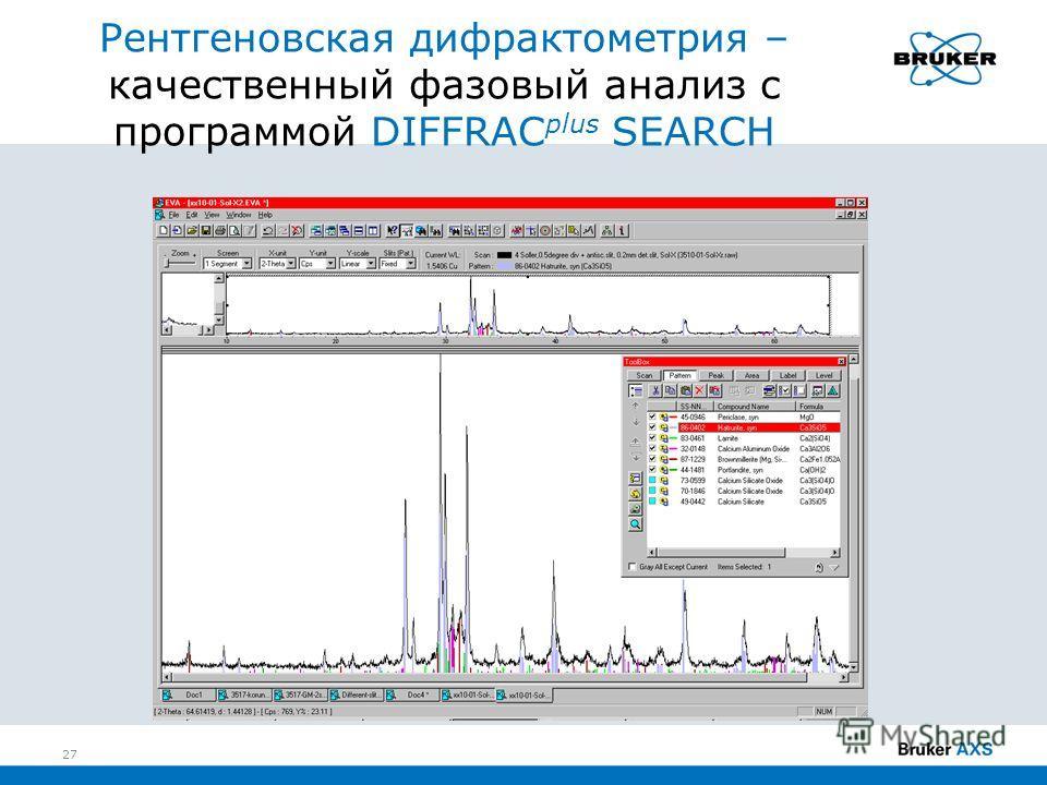Рентгеновская дифрактометрия – качественный фазовый анализ с программой DIFFRAC plus SEARCH 27