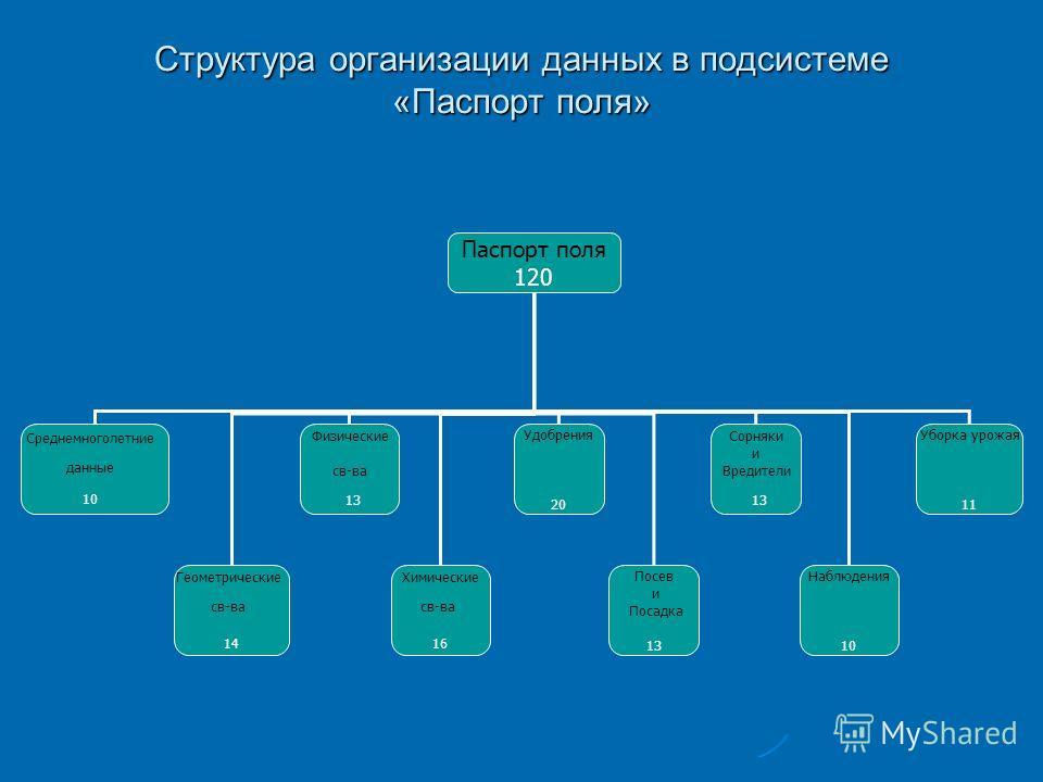 Структура организации данных в подсистеме «Паспорт поля» Паспорт поля 120 Среднемноголетние данные 10 Геометрические св-ва 14 Физические св-ва 13 Химические св-ва 16 Удобрения 20 Посев и Посадка 13 Сорняки и Вредители 13 Наблюдения 10 Уборка урожая 1