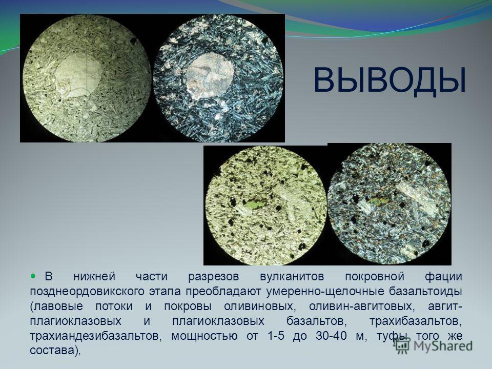 ВЫВОДЫ В нижней части разрезов вулканитов покровной фации позднеордовикского этапа преобладают умеренно-щелочные базальтоиды (лавовые потоки и покровы оливиновых, оливин-авгитовых, авгит- плагиоклазовых и плагиоклазовых базальтов, трахибазальтов, тра