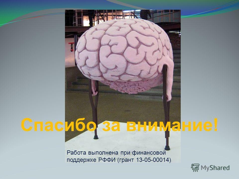 Спасибо за внимание! Работа выполнена при финансовой поддержке РФФИ (грант 13-05-00014)