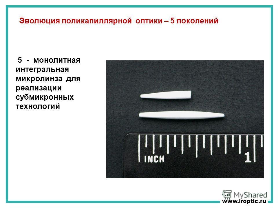 5 - монолитная интегральная микролинза для реализации субмикронных технологий www.iroptic.ru Эволюция поликапиллярной оптики – 5 поколений