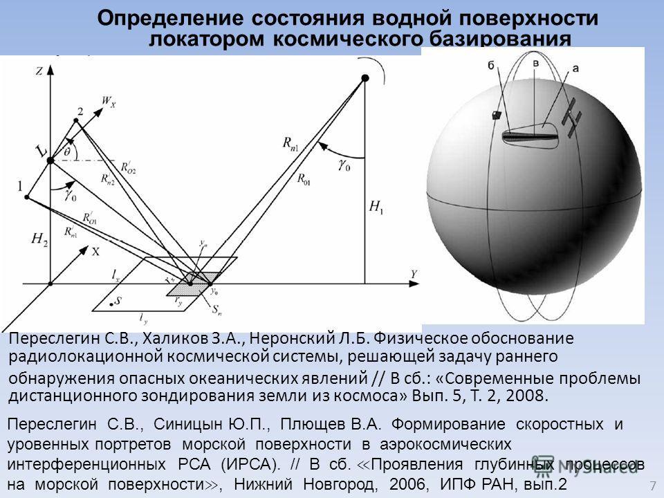 Определение состояния водной поверхности локатором космического базирования 7 Переслегин С.В., Халиков З.А., Неронский Л.Б. Физическое обоснование радиолокационной космической системы, решающей задачу раннего обнаружения опасных океанических явлений