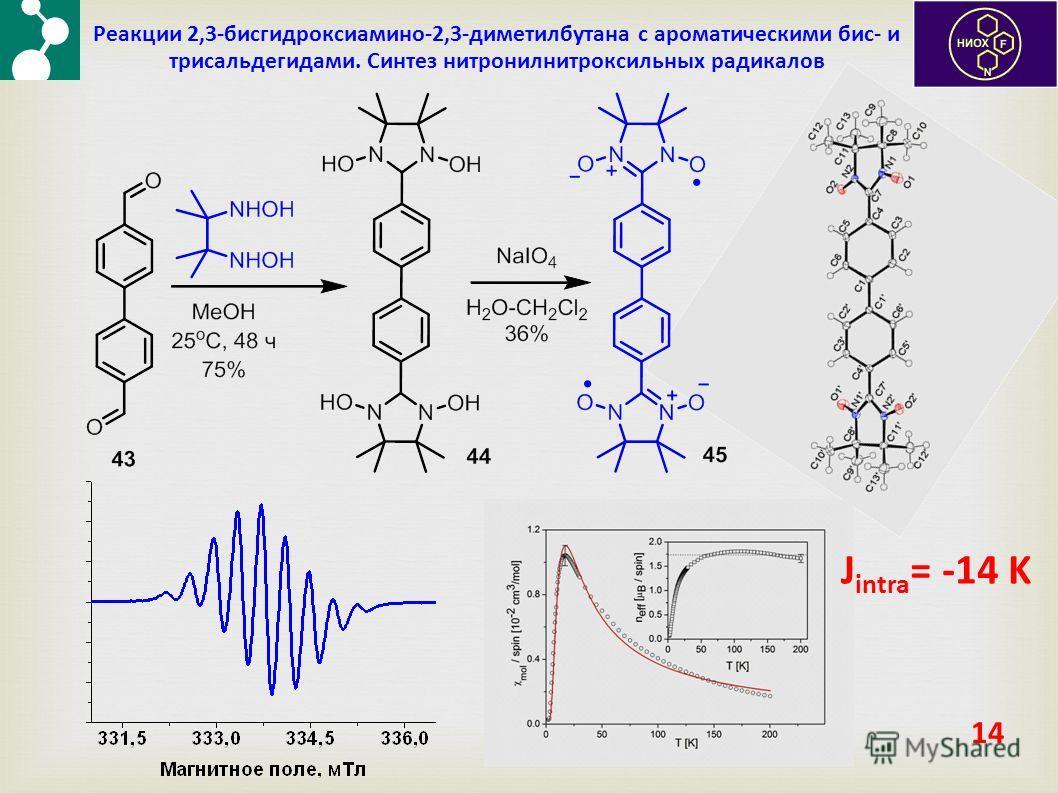14 Реакции 2,3-бисгидроксиамино-2,3-диметилбутана с ароматическими бис- и трисальдегидами. Синтез нитронилнитроксильных радикалов J intra = -14 K