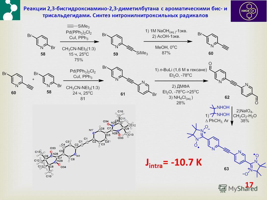 17 Реакции 2,3-бисгидроксиамино-2,3-диметилбутана с ароматическими бис- и трисальдегидами. Синтез нитронилнитроксильных радикалов J intra = -10.7 K