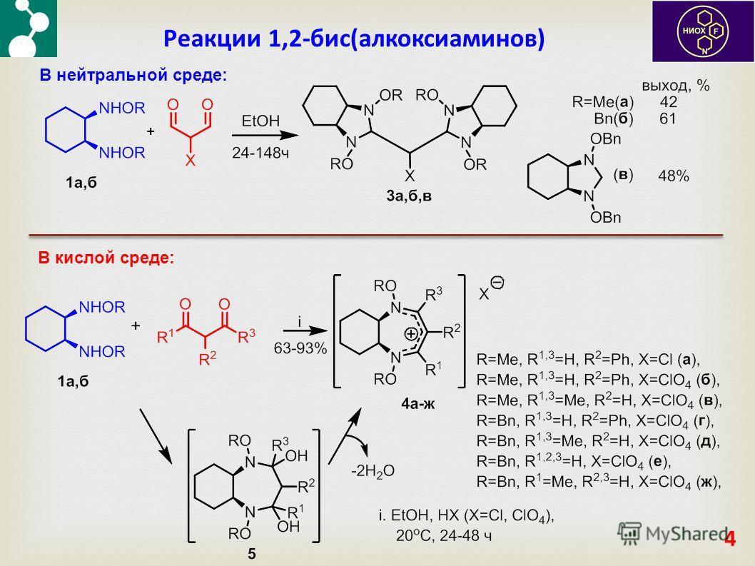 Реакции 1,2-бис(алкоксиаминов) 4 В нейтральной среде: В кислой среде: