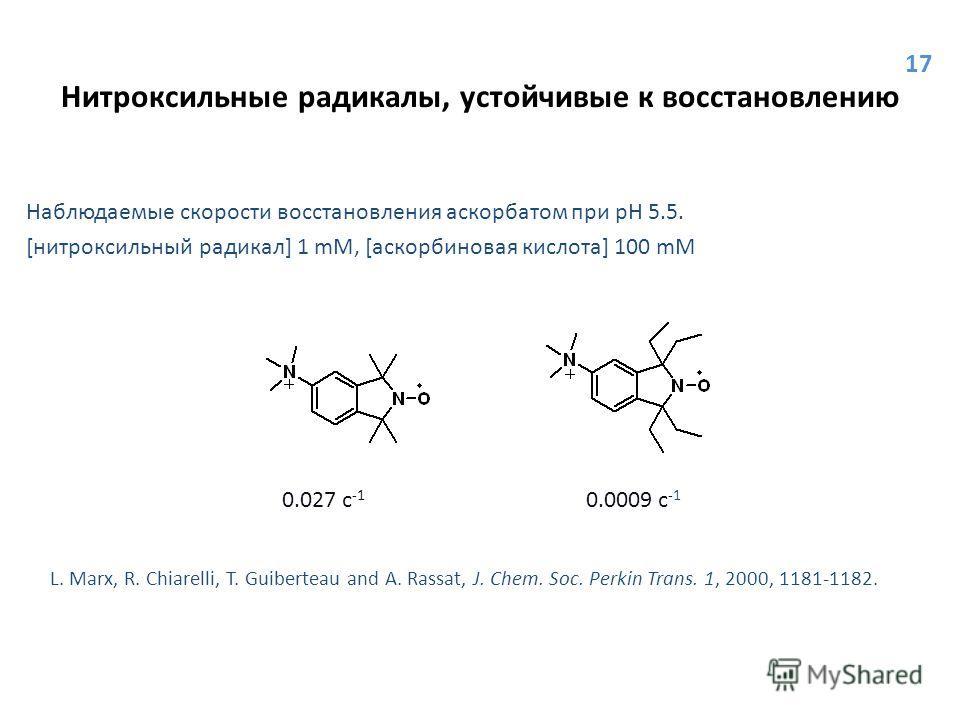 Нитроксильные радикалы, устойчивые к восстановлению Наблюдаемые скорости восстановления аскорбатом при pH 5.5. [нитроксильный радикал] 1 mM, [аскорбиновая кислота] 100 mM 0.027 с -1 0.0009 с -1 L. Marx, R. Chiarelli, T. Guiberteau and A. Rassat, J. C