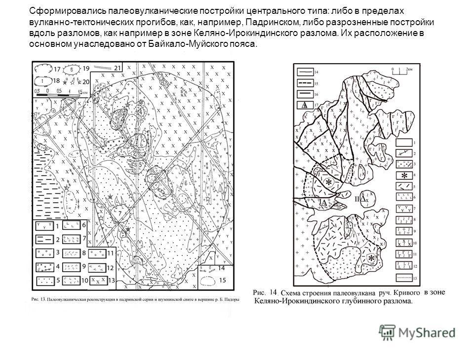Сформировались палеовулканические постройки центрального типа: либо в пределах вулканно-тектонических прогибов, как, например, Падринском, либо разрозненные постройки вдоль разломов, как например в зоне Келяно-Ирокиндинского разлома. Их расположение