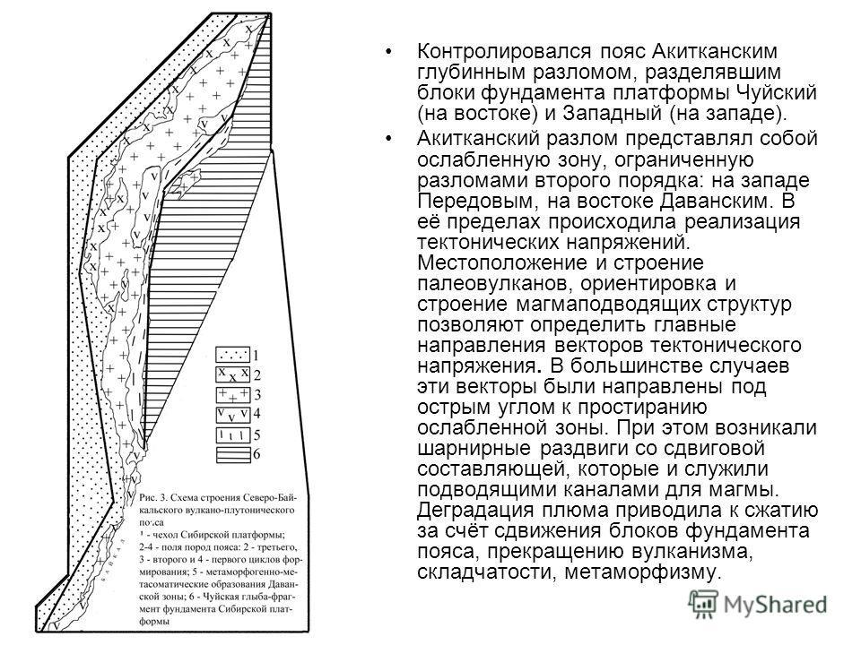 Контролировался пояс Акитканским глубинным разломом, разделявшим блоки фундамента платформы Чуйский (на востоке) и Западный (на западе). Акитканский разлом представлял собой ослабленную зону, ограниченную разломами второго порядка: на западе Передовы