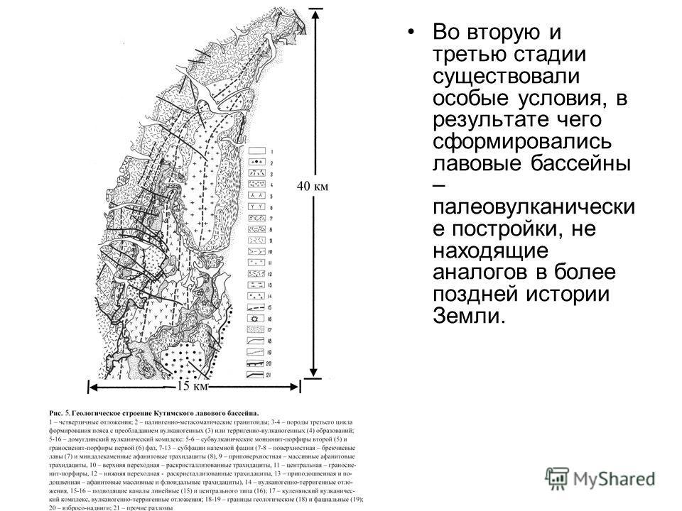 Во вторую и третью стадии существовали особые условия, в результате чего сформировались лавовые бассейны – палеовулканически е постройки, не находящие аналогов в более поздней истории Земли.