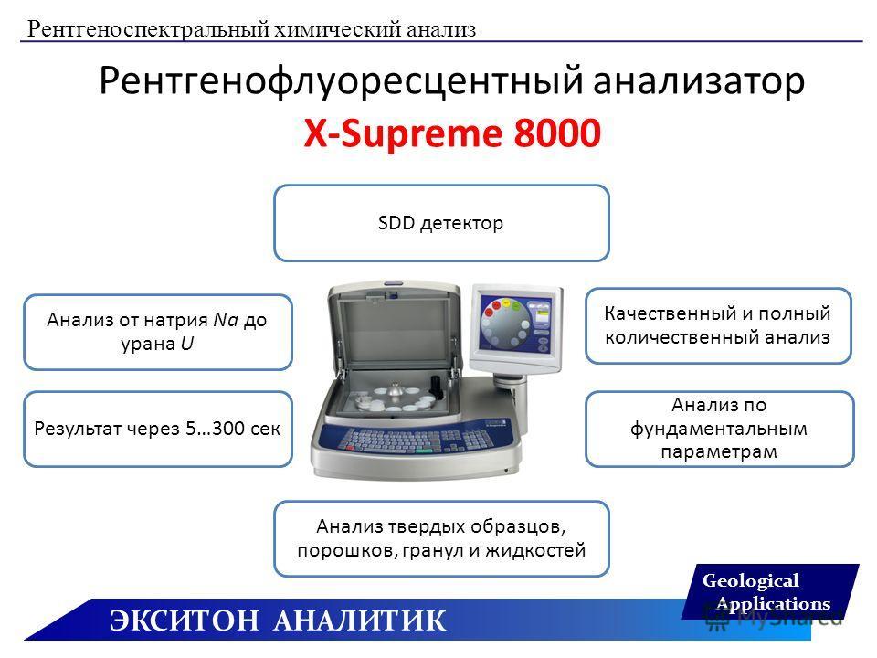 Рентгеноспектральный химический анализ Качественный и полный количественный анализ SDD детектор Анализ твердых образцов, порошков, гранул и жидкостей Анализ по фундаментальным параметрам Рентгенофлуоресцентный анализатор X-Supreme 8000 ЭКСИТОН АНАЛИТ