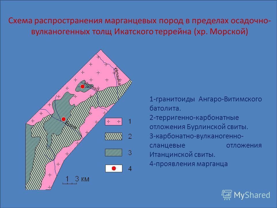 Схема распространения марганцевых пород в пределах осадочно- вулканогенных толщ Икатского террейна (хр. Морской) 1-гранитоиды Ангаро-Витимского батолита. 2-терригенно-карбонатные отложения Бурлинской свиты. 3-карбонатно-вулканогенно- сланцевые отложе