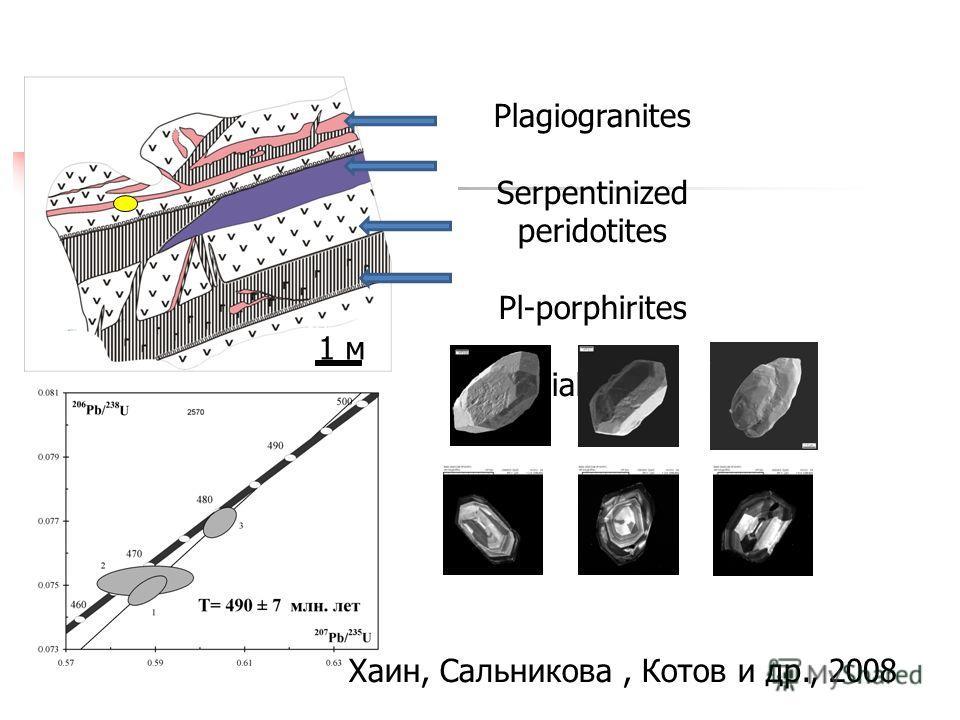 Plagiogranites Serpentinized peridotites Pl-porphirites Diabases 1 м Zircons from plagiogranite s 2570 Хаин, Сальникова, Котов и др., 2008