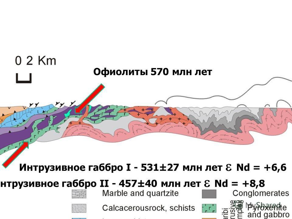 сделать Увеличенный разрез Интрузивное габбро I - 531±27 млн лет Nd = +6,6 Офиолиты 570 млн лет Интрузивное габбро II - 457±40 млн лет Nd = +8,8