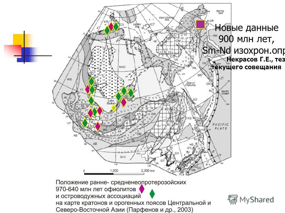 Новые данные 900 млн лет, Sm-Nd изохрон.опр. Некрасов Г.Е., тез. текущего совещания