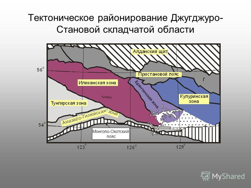 Тектоническое районирование Джугджуро- Становой складчатой области Брянтинская зона Монголо-Охотский пояс