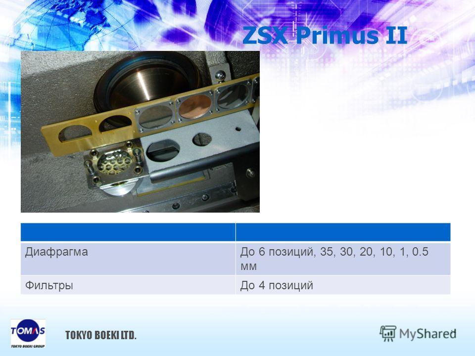 ZSX Primus II TOKYO BOEKI LTD. ДиафрагмаДо 6 позиций, 35, 30, 20, 10, 1, 0.5 мм ФильтрыДо 4 позиций 14