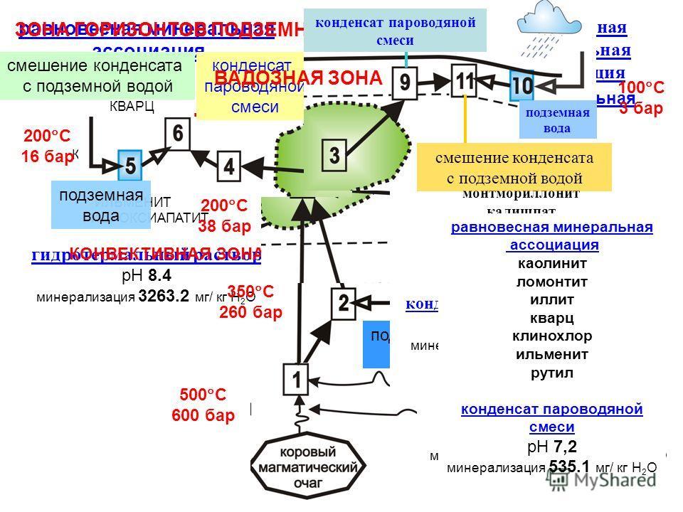 инфильтрующиеся метеорные воды субдуцированные морские осадки 500 С 600 бар равновесная минеральная ассоциация АЛЬБИТ АНОРТИТ КВАРЦ ФЛОГОПИТ МАГНЕТИТ КЛИНОПИРОКСЕН КАЛИШПАТ СФЕН ИЛЬМЕНИТ ГИДРОКСИАПАТИТ гидротермальный раствор pH 8.4 минерализация 326