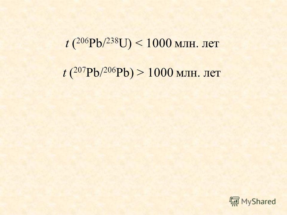t ( 206 Pb/ 238 U) < 1000 млн. лет t ( 207 Pb/ 206 Pb) > 1000 млн. лет